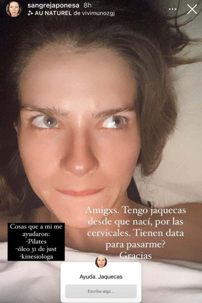 Eugenia Suárez habló de sus jaquecas y contó con qué hábitos busca mitigar el dolor
