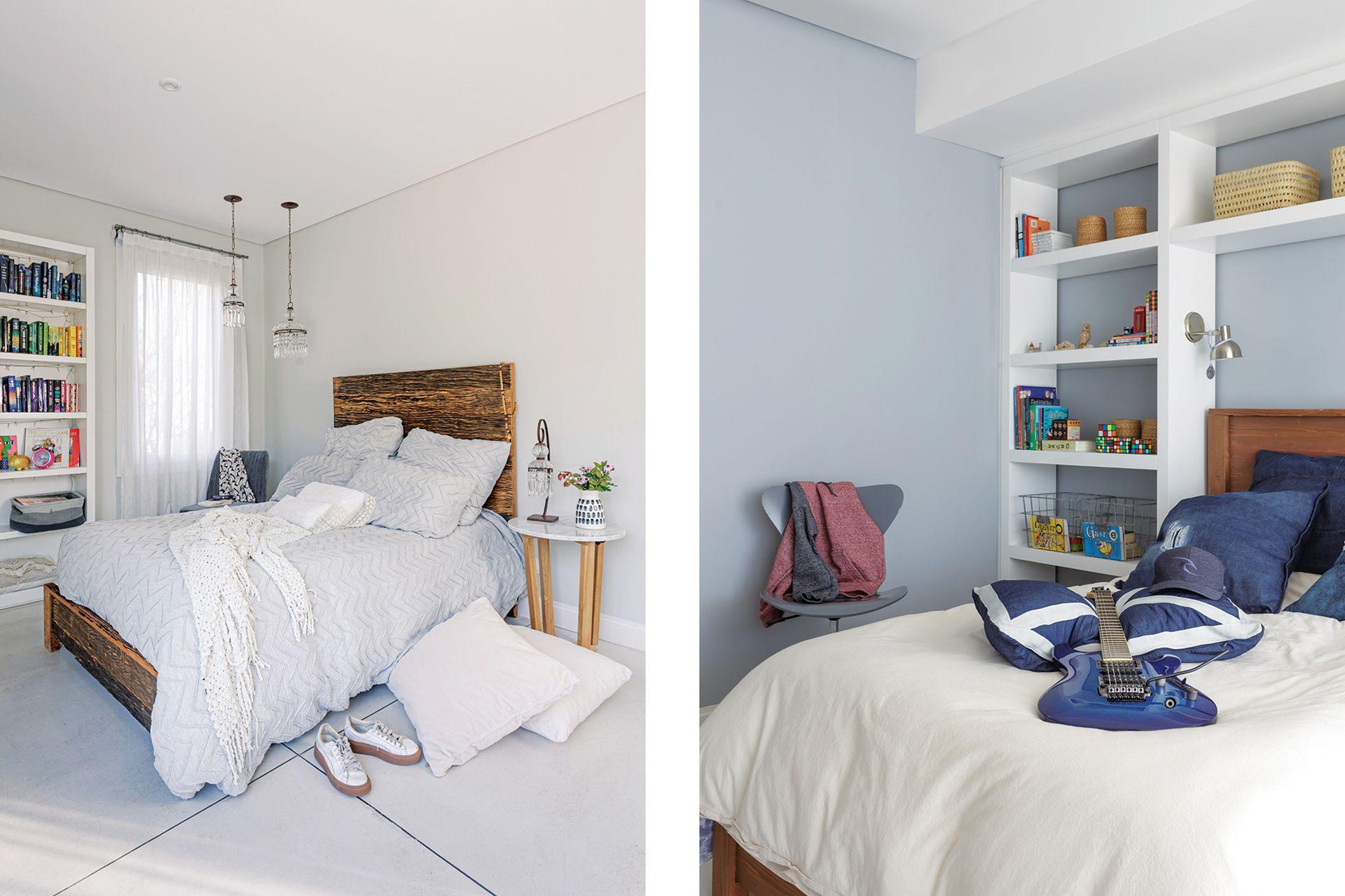 En el cuarto del hijo, cama de madera y mueble laqueado blanco (Constanza Serantes) con almohadones azules (Yrigoyen).