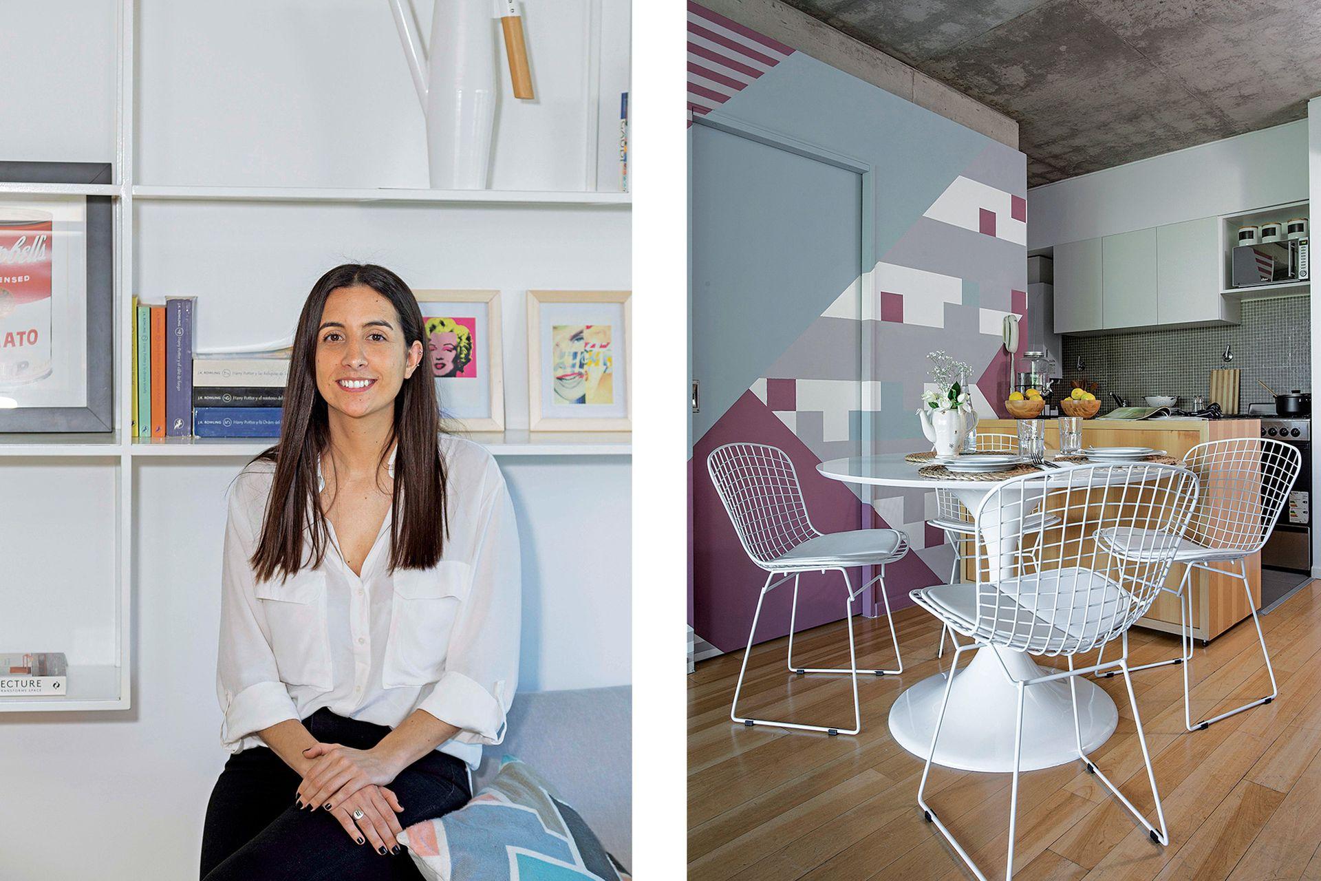El sector de comedor tiene mesa Tulip (Deco Design), sillas Bertoia (De Sillas), alfombra (Mihran) y sillón tapizado en gris (Goral Deco).