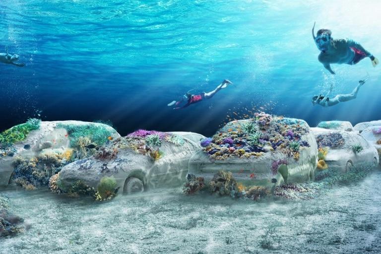 Render del proyecto de la obra de Erlich bajo el agua