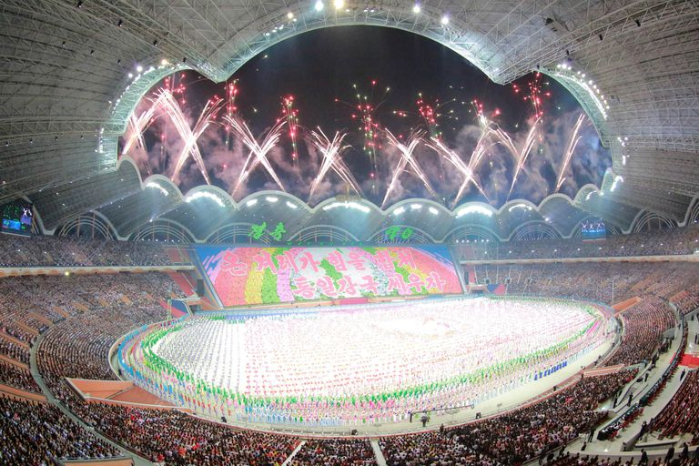 """Una vista del estadio de Pyongyang, durante la celebración de los juegos denominados """"The Glorious Country"""""""