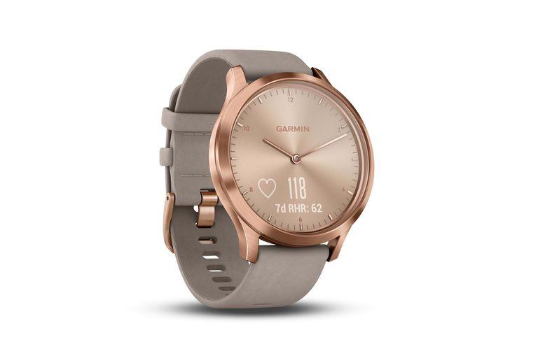 Clásico y geek. Aunque a simple vista parece un reloj tradicional, el Garmin Vivomover HR es un smartwatch que ofrece monitoreo de frecuencia cardíaca, de los pasos recorridos y de las calorías. Su autonomía es de hasta 5 días conectado ($46.999)