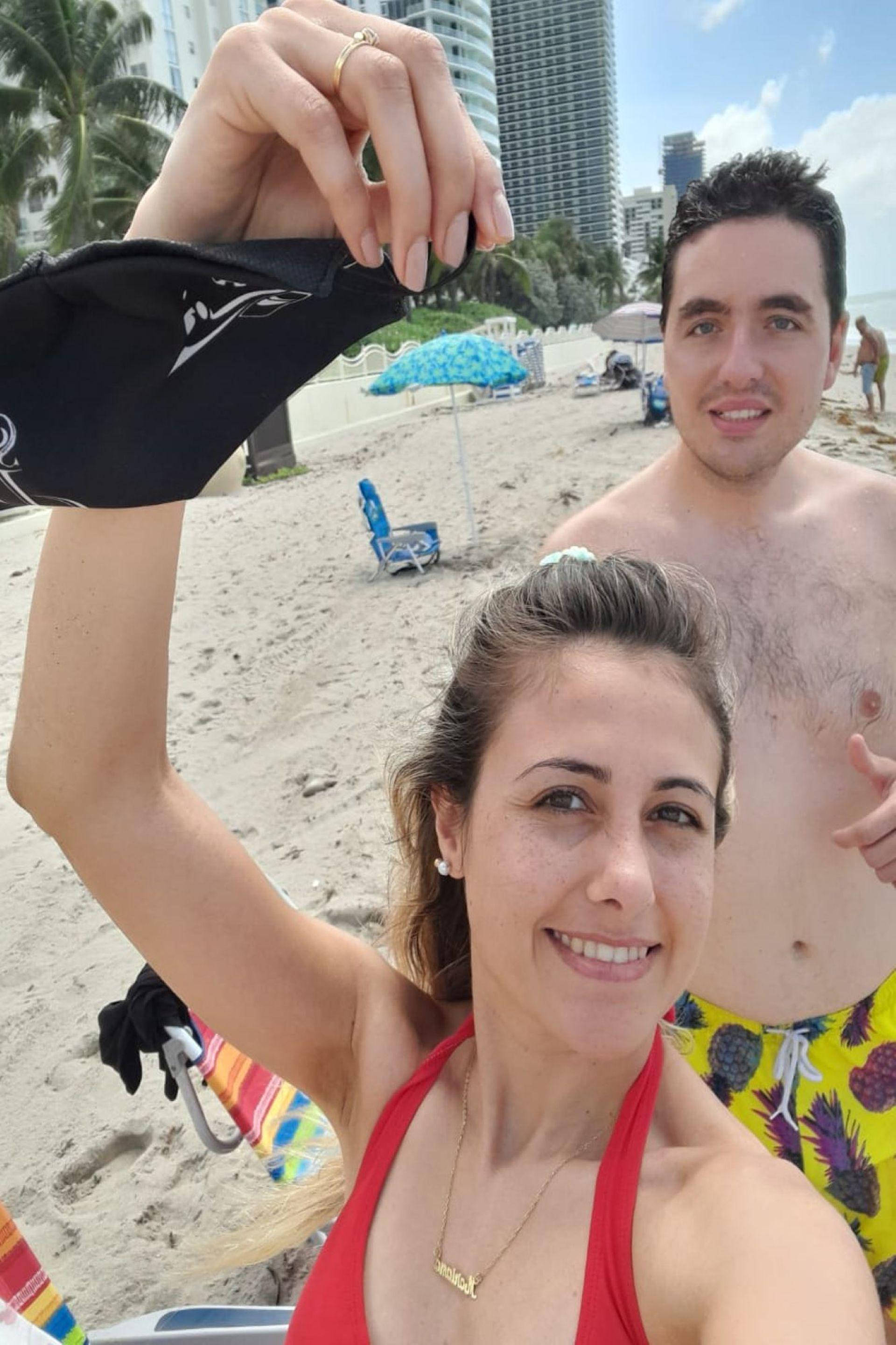 Mariana Drago y su pareja Brian se animaron a viajar unos días a Miami