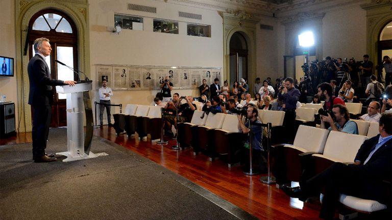Macri en conferencia de prensa