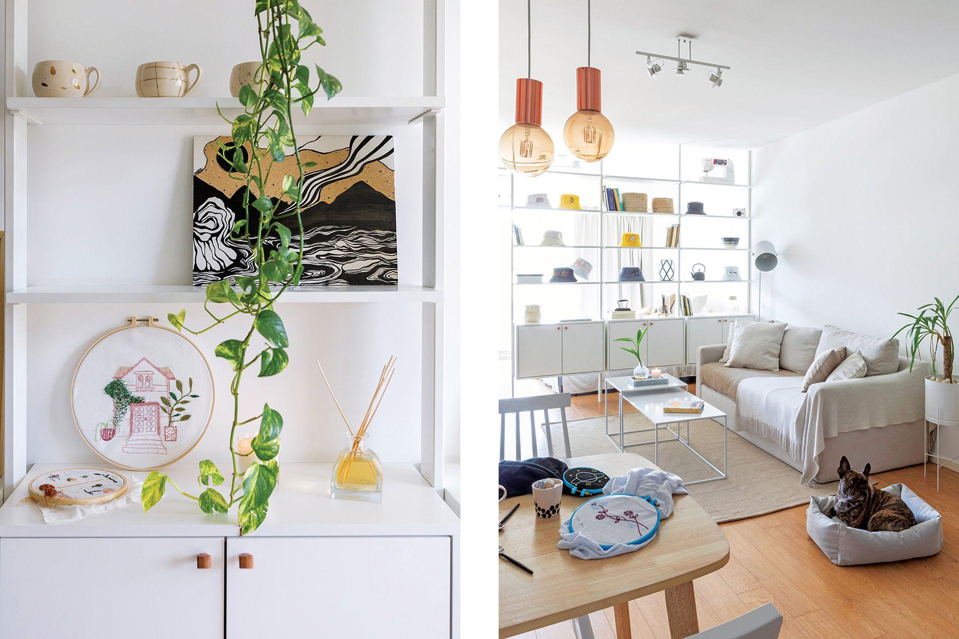 Lámpara de techo (Studio Luce). El potus forma una cortina verde y natural.