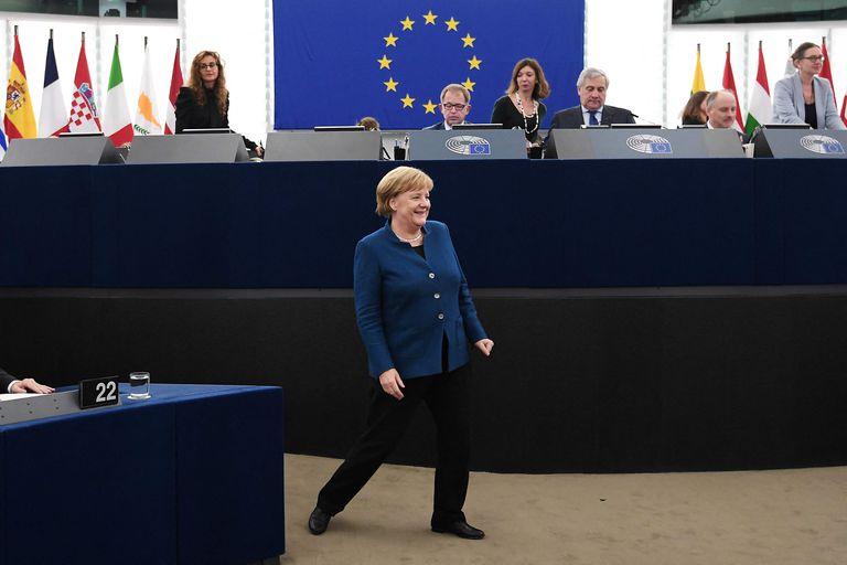 Merkel en el Parlamento Europeo