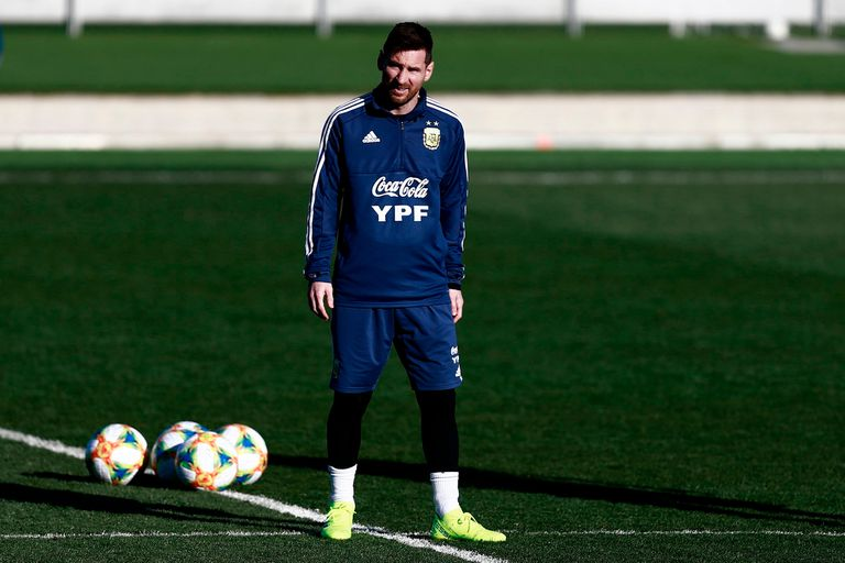 Messi en el entrenamiento del equipo argentino el 20 de marzo en Madrid, España, previo al amistoso contra Venezuela.