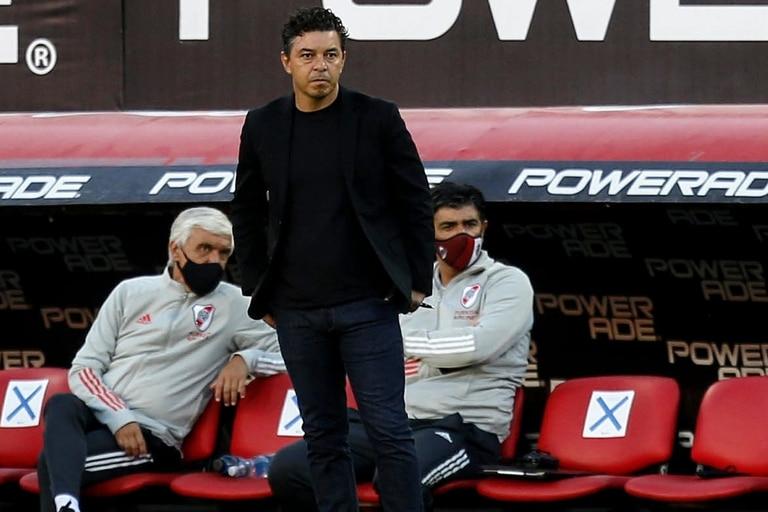 Marcelo Gallardo durante el partido que disputa River Plate contra Argentinos Juniors