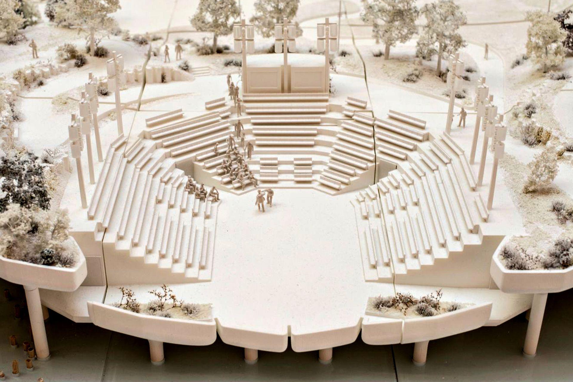 La maqueta del anfiteatro principal de Little Island, el nuevo parque flotante sobre el Río Hudson
