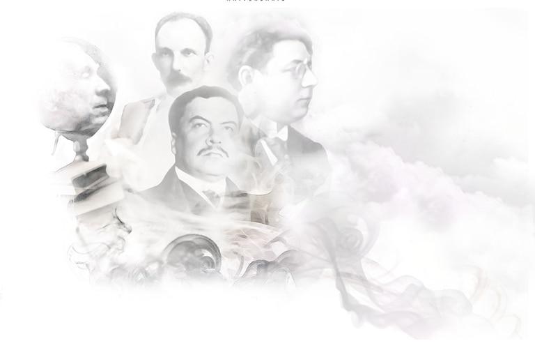 Jorge Luis Borges, José Martí, Rubén Darío y Alberto Gerchunoff, cuatro de las grandes plumas que escribieron en LA NACION entre fines del siglo XIX y gran parte del XX