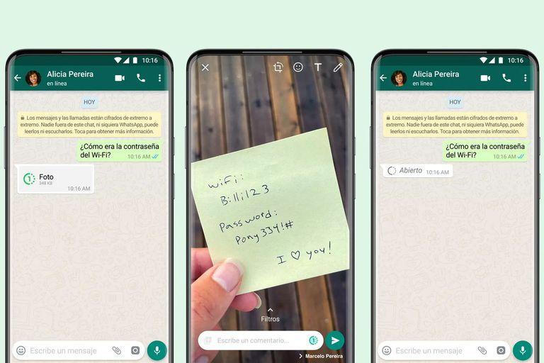 WhatsApp permite mandar fotos y videos que se borran después de verse