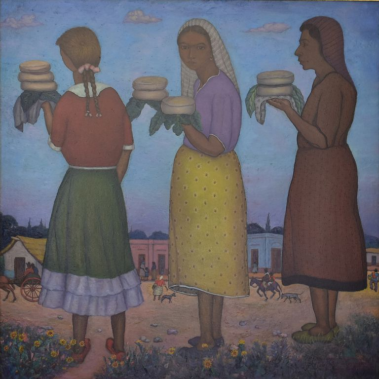 "Hermosa obra de Alfredo Gramajo Gutiérrez, ""Vendedoras de queso"", que pasó a formar parte del patrimonio del MAT"