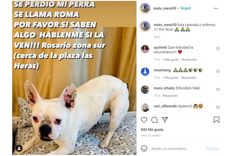 Matías Messi perdió a su perra enferma y compartió varias imágenes en su cuenta de Instagram