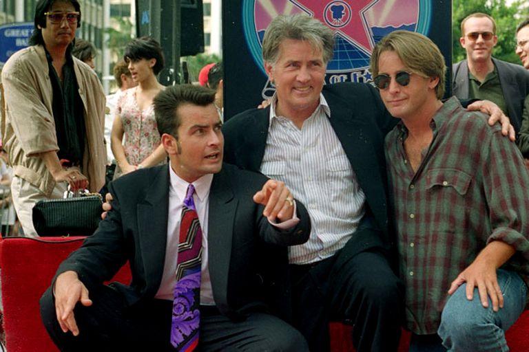 Martin Sheen junto a sus hijos Charlie Sheen y Emilio Estevez