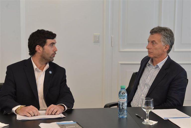 Basavilbaso y el presidente Macri, ayer en la residencia de Olivos, donde analizaron la gestión de la Anses