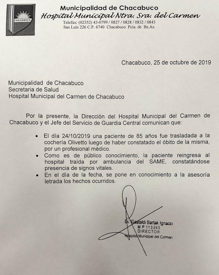 El comunicado oficial del Hospital Municipal