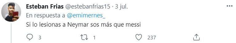 """""""Si lesionas a Neymar sos más que Messi"""", le escribieron a Mernes por su relación con el crack brasileño"""