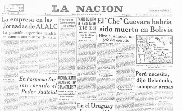 La tapa de La Nación del 10 de octubre de 1967, la primera publicación tras la muerte del Che