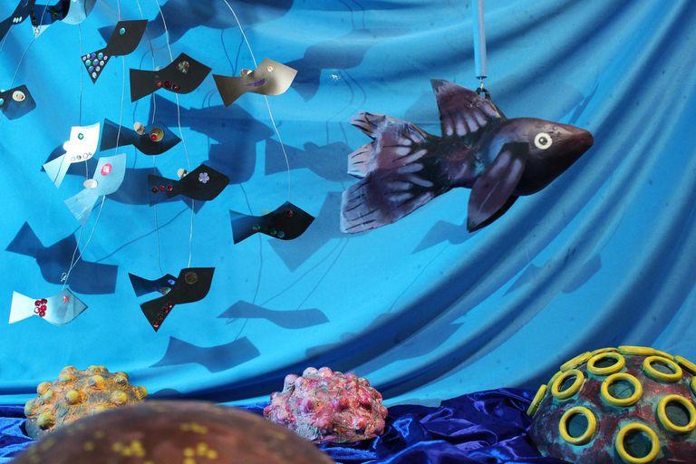 Azul del mar y peces
