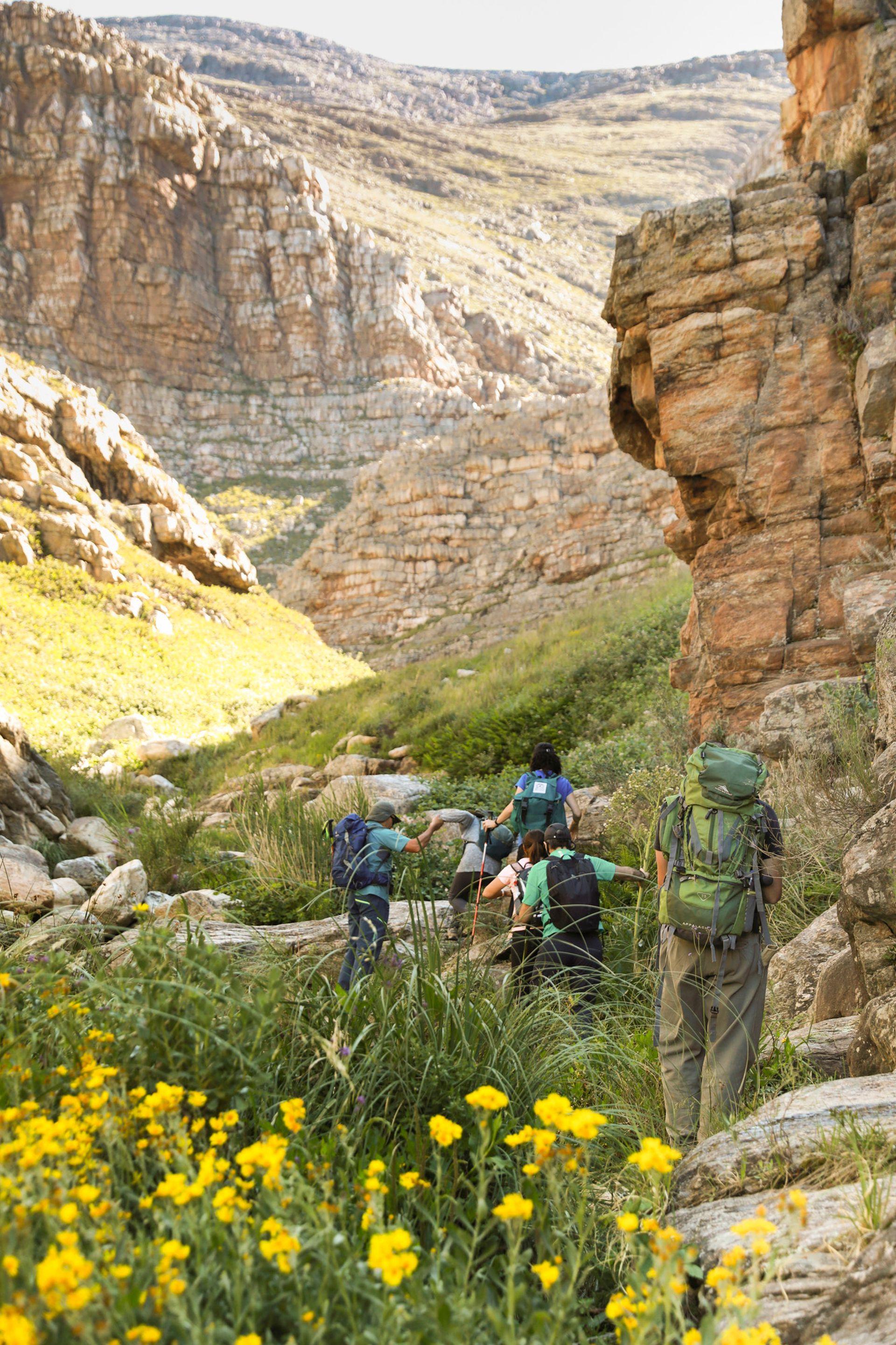 Mano a mano con la naturaleza en el trekking hacia las Paredes Rosas, en la reserva Sierras Grandes.