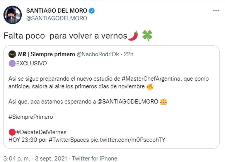 Santiago Del Moro se prepara para la vuelta de MasterChef