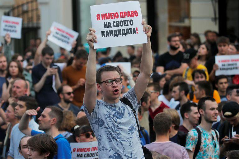 Los manifestantes colmaron las inmediaciones de la alcaldía de Moscú
