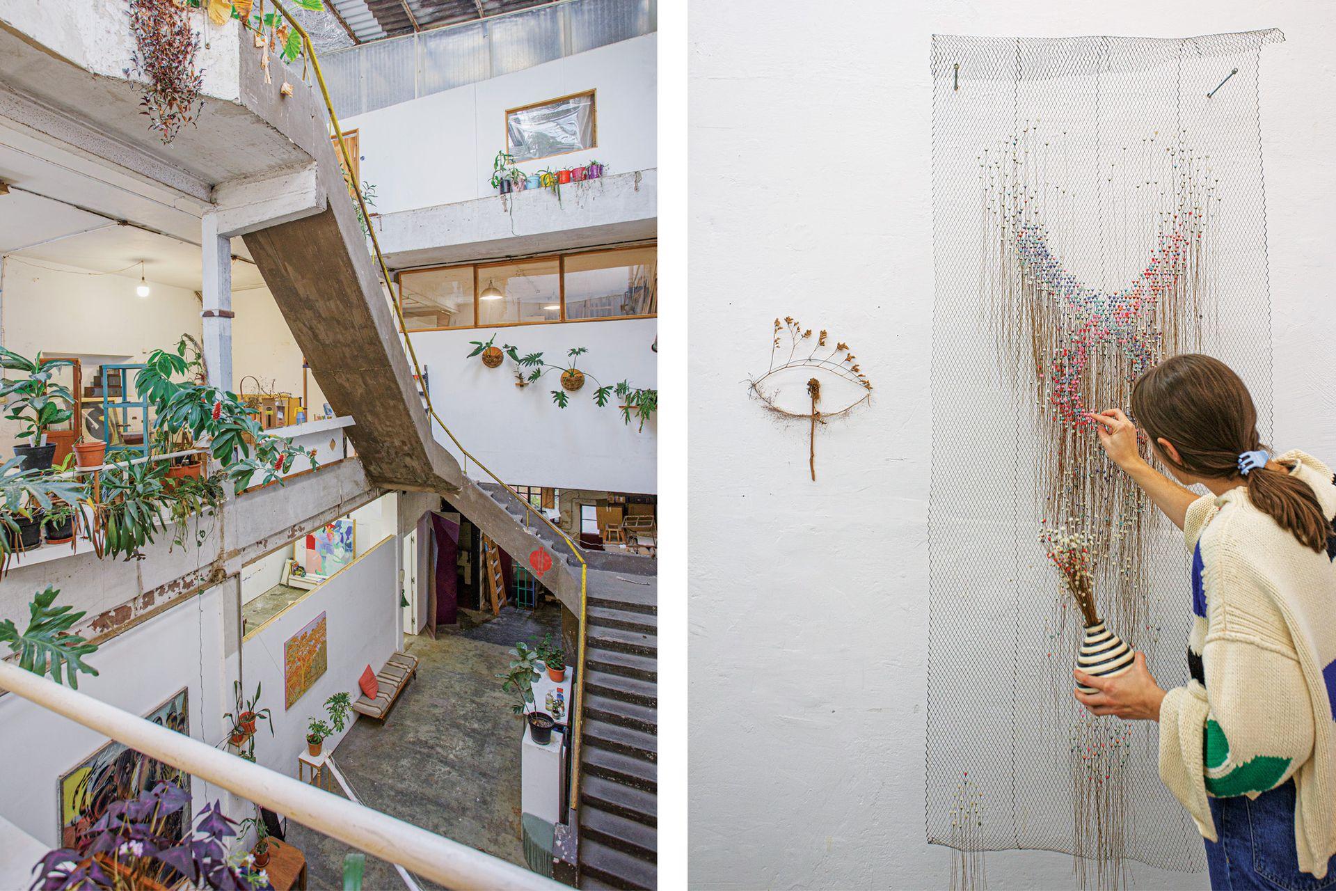 """El Taller Maturín (Maturín 2256) funciona en una antigua fábrica de muebles. Florencia Lista trabajando en lo que denomina el """"tercer paisaje botánico""""."""