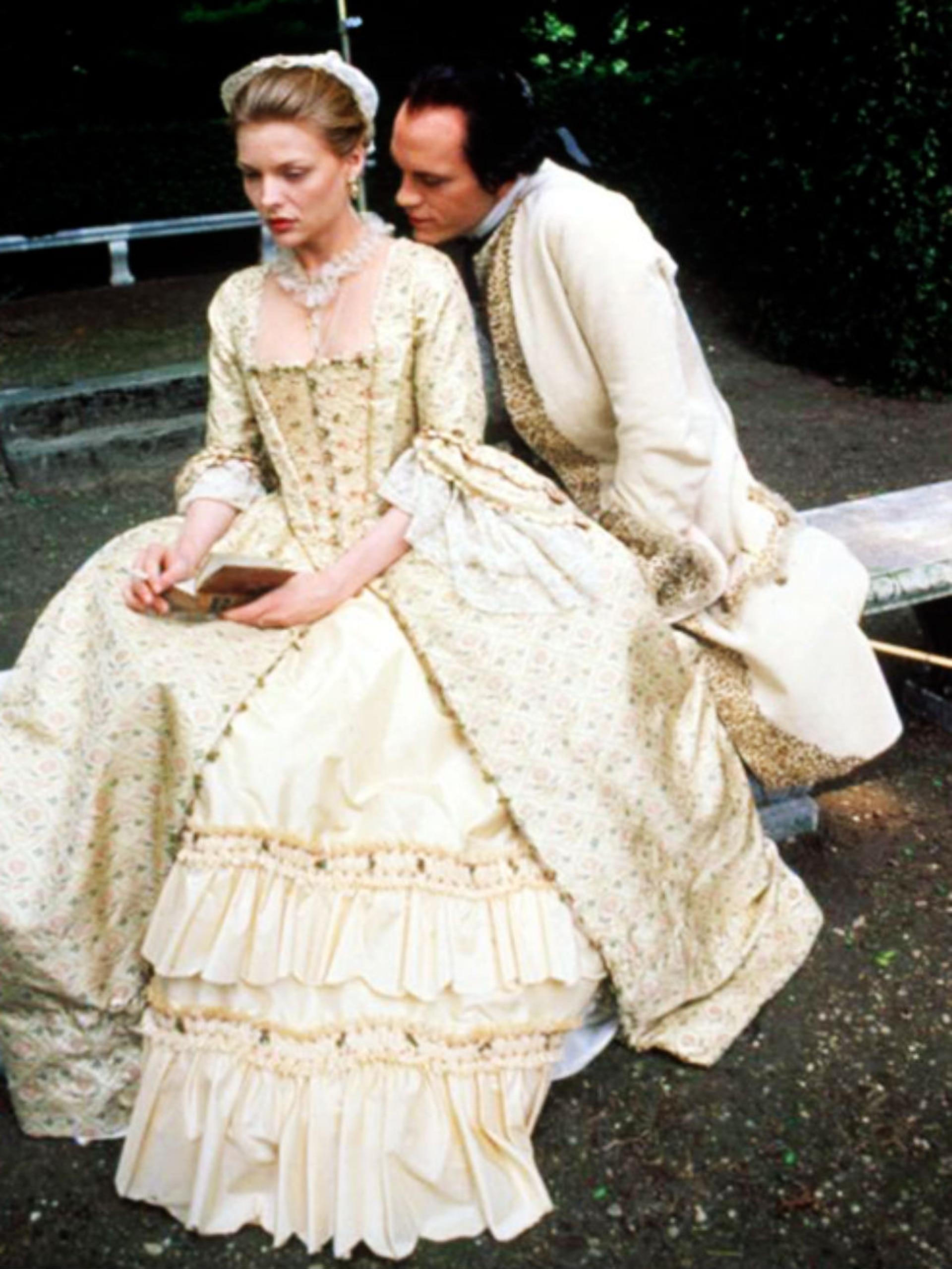 John Malkovich y Michelle Pfeiffer en el rodaje de Relaciones peligrosas