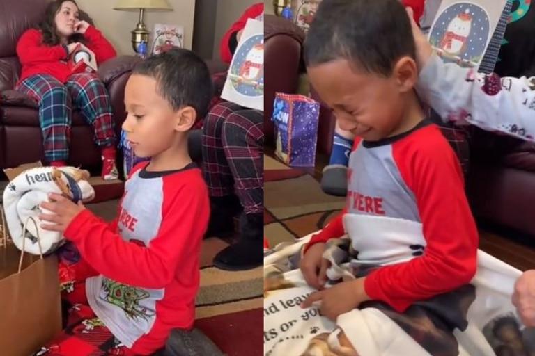 El nene que recibió un especial regalo para recordar a su perrito y superó las cinco millones de visualizaciones. Imagen: @Kiddmanhelsen