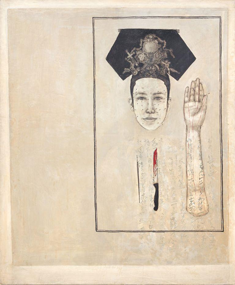 Influjo oriental. Chinesa: óleo sobre tela y agujas de acupuntura, realizada a principios de la década del 90