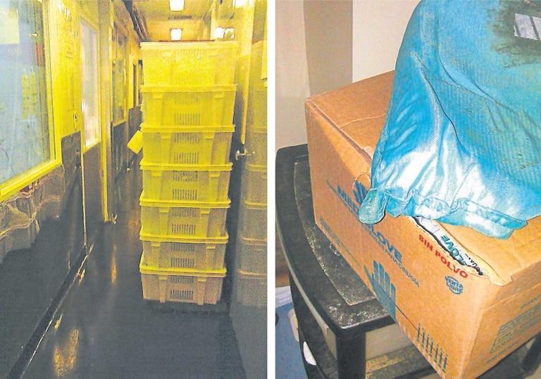 Falencias. A la izquierda, en un pasillo, los contenedores con ampollas que deberían estar almacenadas en un lugar con más cuidado; a la derecha, trajes y guantes, cubiertos de polvo