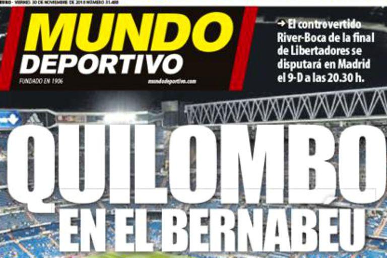 La tapa de Mundo Deportivo, aludiendo a la alteración de una jornada normal de fútbol en Madrid