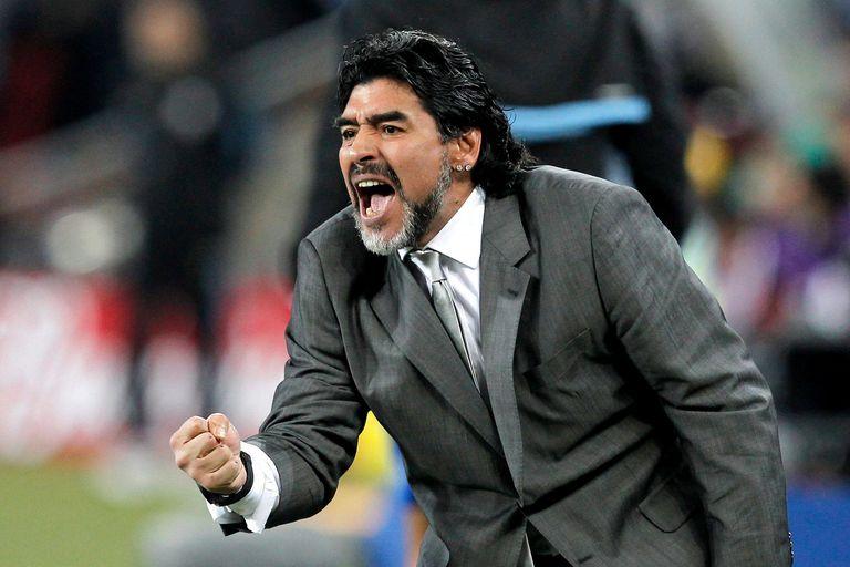 Diego Maradona en el partido contra México durante la Copa del Mundo de Sudáfrica