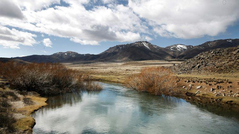 Vista del Río Chubut en las proximidades de donde se realizaron los rastrillajes