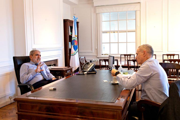 El ministro Aníbal Fernández analizó la situación de la violencia en Rosario con Marcelo Saín