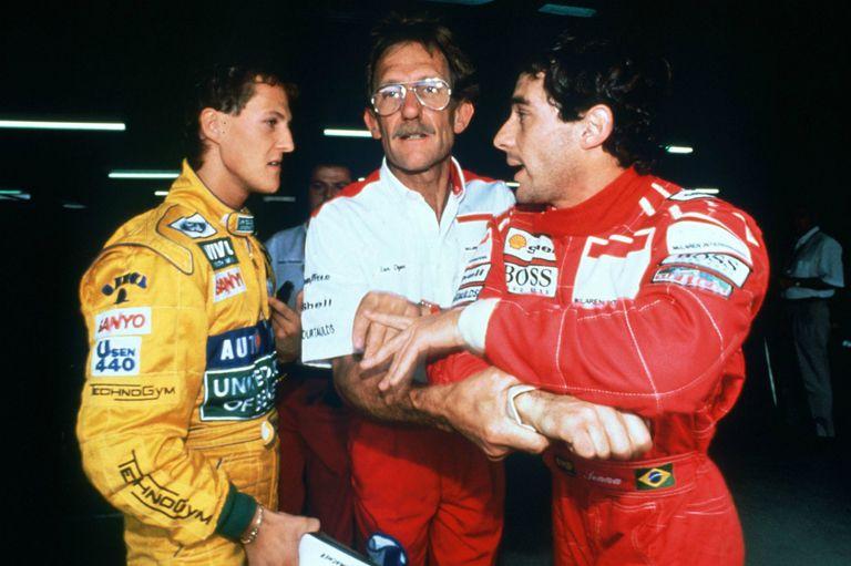 Trauma: cuando Senna tomó del cuello a Schumacher y la paranoia del alemán por la muerte