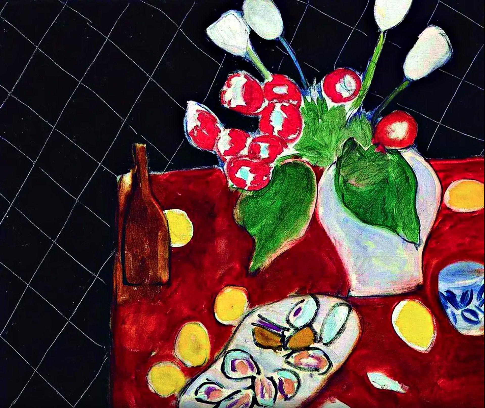 Tulipanes y ostras sobre fondo negro. Henri Matisse, 1943