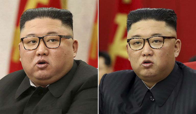 En esta combinación de imágenes proporcionadas por el gobierno norcoreano, el líder de Corea del norte, Kim Jong Un, en reuniones del Partido de los Trabajadores en Pyongyang, Corea del Norte, el 8 de febrero de 2021, a la izquierda, y el 15 de junio de 2021. (Agencia Central Coreana de Noticias/Servicio Coreano de Noticias via AP, archivo)