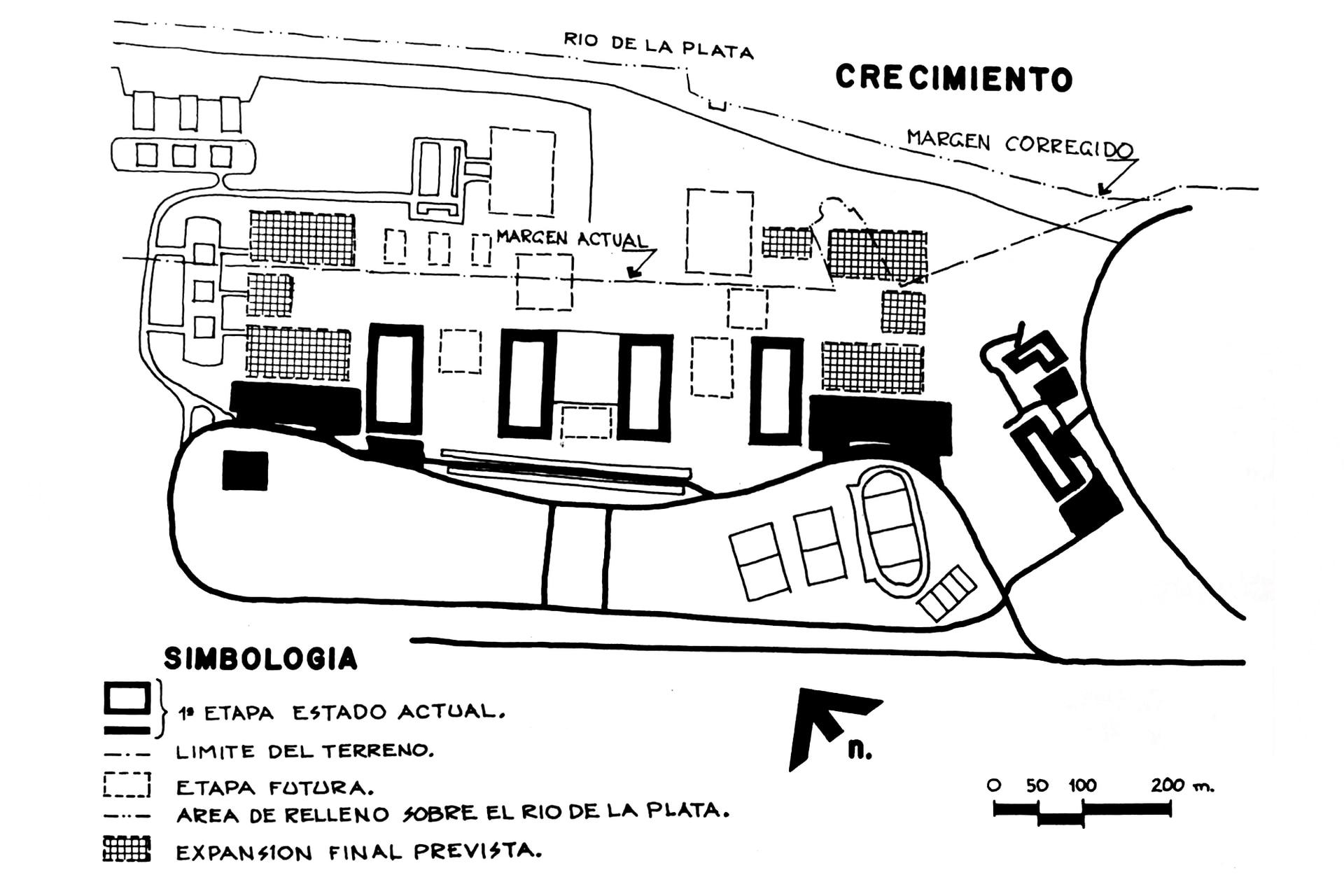 Estado de la obra, circa 1970. Se observa el margen actual y proyectado del río