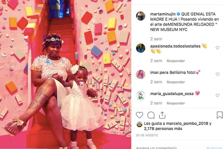 Minujín celebra en Instagram una foto de madre e hija, aunque su obra no es para chicos