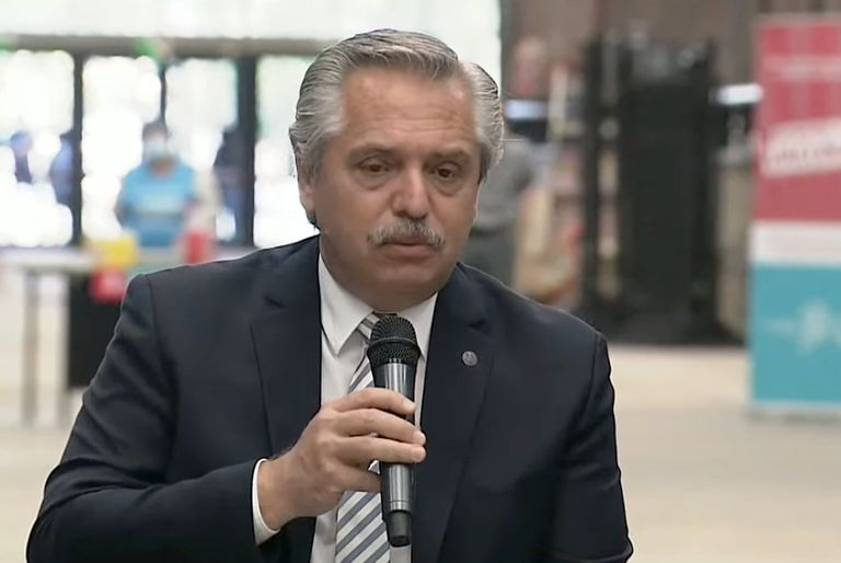 Alberto Fernández, esta mañana, en Lanús
