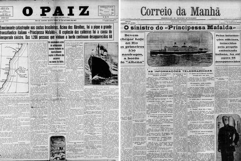 Los diarios de Brasil informaron la tragedia el miércoles 26 de octubre de 1927