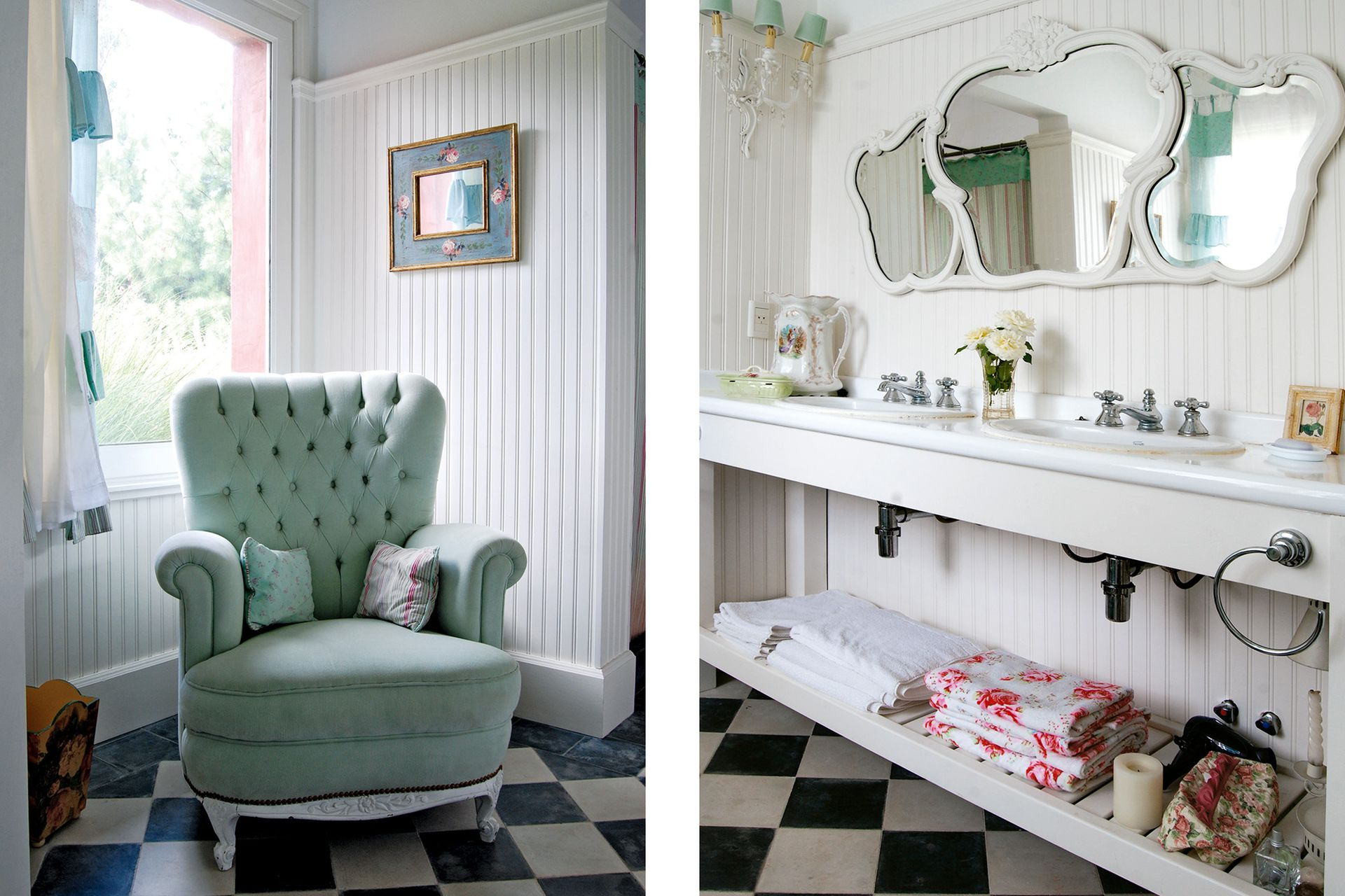 En un rincón del baño, un sillón Bergère comprado en remate y retapizado con un corderoy verde agua de bastón fino (Milagros Resta).
