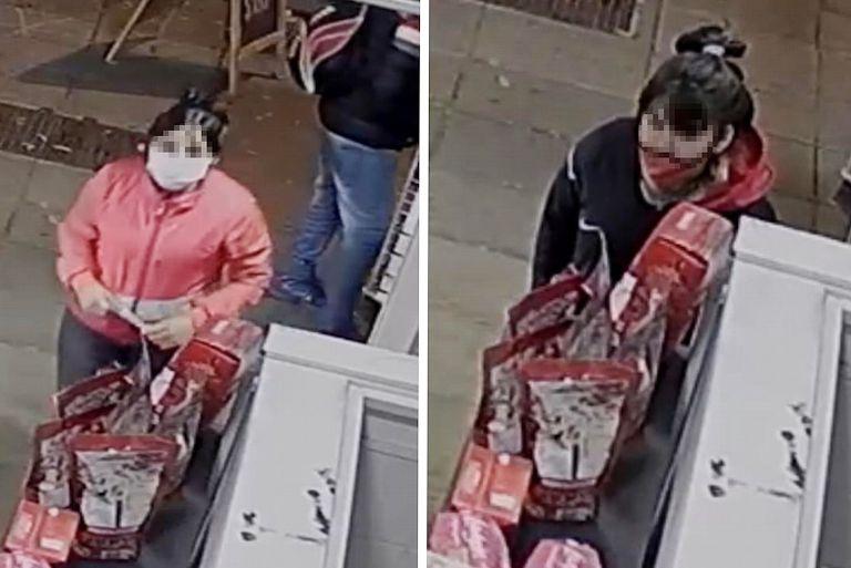 Las sospechosas fueron captadas por las cámaras de seguridad de un quiosco de Núñez