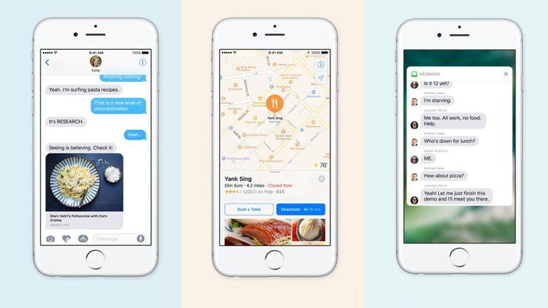 El nuevo iMessage, la aplicación de mapas, y una notificación de iOS 10