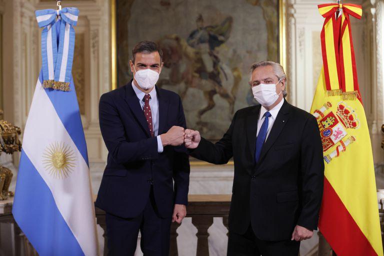 El presidente Alberto Fernández recibió a su par de España, Pedro Sánchez