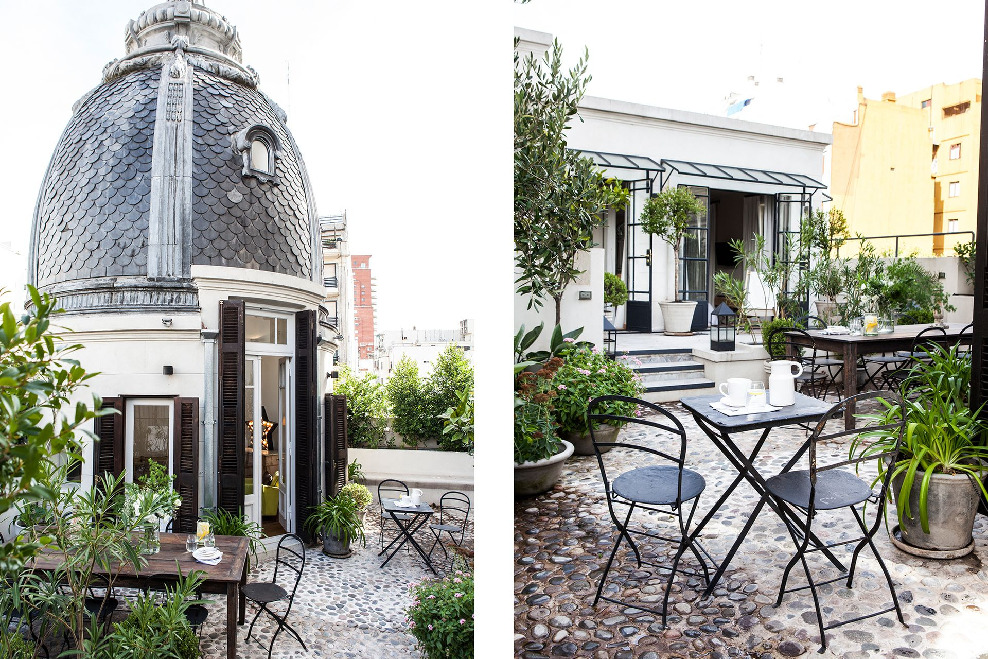 Los cerramientos industriales del patio interior se replicaron en la terraza complementados con el mobiliario del mismo material.