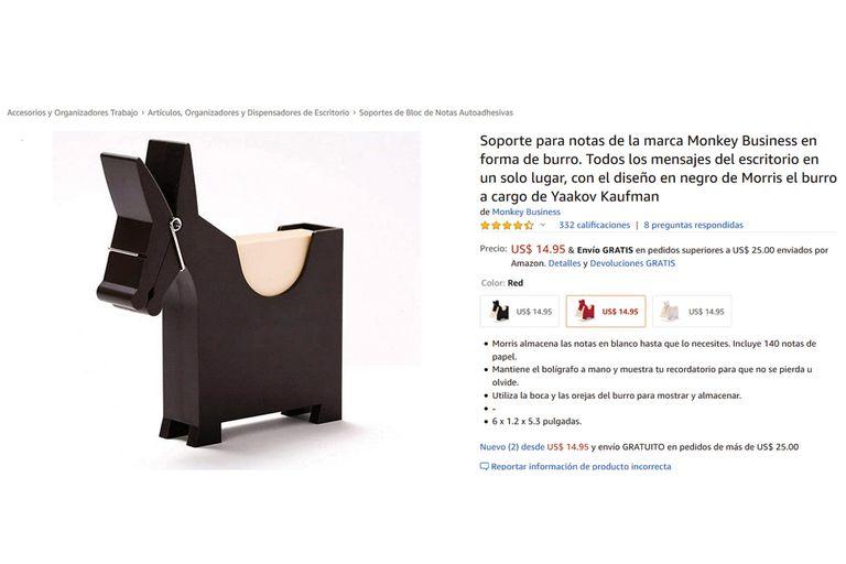 """El taco de papeles, con forma de burro, tiene la firma del diseñador industrial israelí Yaakov Kaufman, a la que bautizó """"Morris memo"""". Su precio es 14,95 dólares."""