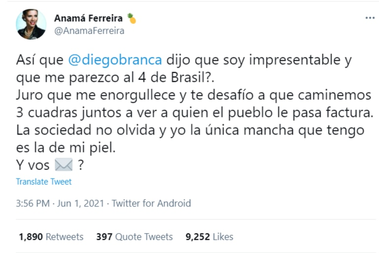 Anamá Ferreira le respondió a Diego Brancatelli tras su comparación con el 4 de la selección brasileña