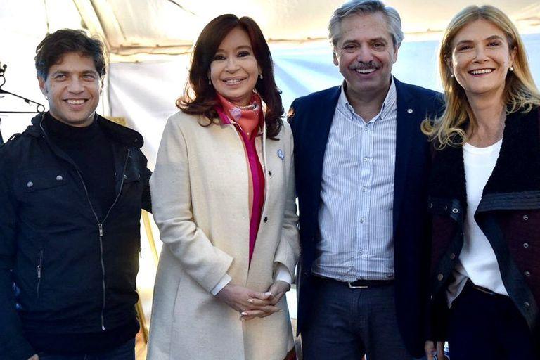 Áxel Kicillof, Cristina Kirchner, Alberto Fernández y Verónica Magario